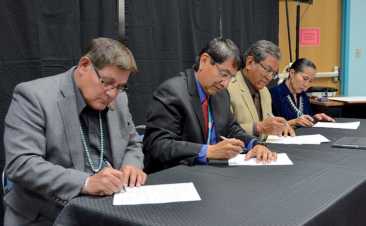 From left: Navajo Nation Council Speaker LoRenzo Bates, Vice President Jonathan Nez, President Russell Begaye and Chief Justice JoAnn Jayne sign a proclamation Feb. 9 declaring 2018 as the Year of the Treaty. (Submitted photo)