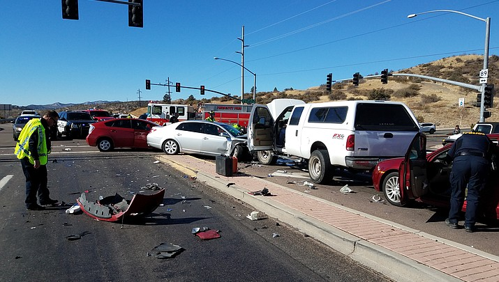 Two hurt in 4-vehicle crash on Highway 89
