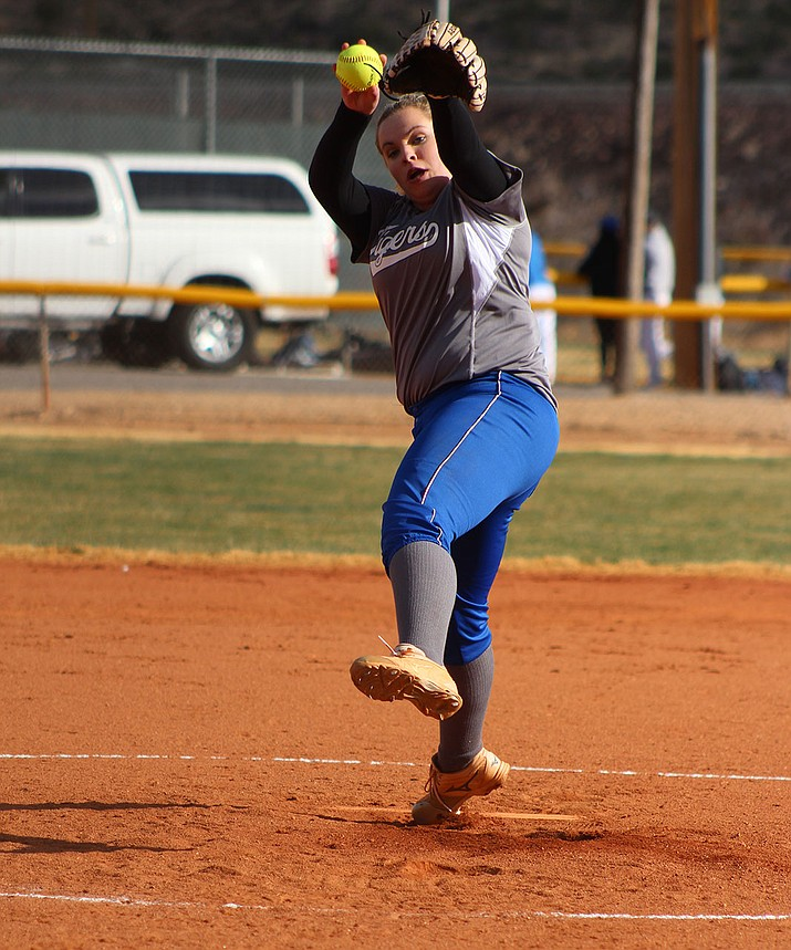 Kingman Academy's Jessica Plew picked up the win in the circle Wednesday against Kingman High.