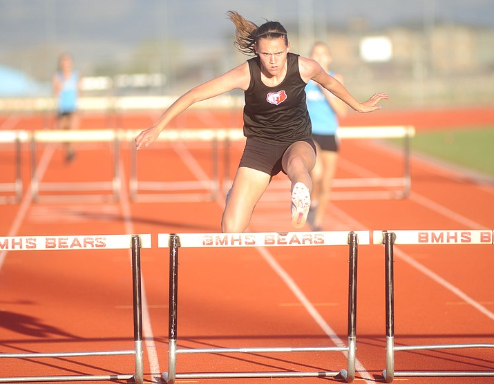 Bradshaw Mountain's Bailey Rozendaal competes in the 110 hurdles as the Bears hosted Cactus and Peoria Wednesday, March 8, 2017, in Prescott Valley.