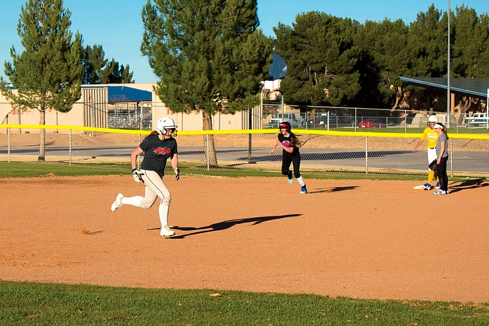 Camp Verde softball players practice running the bases on Tuesday afternoon. The Cowboys, who were a state semifinalist last year, opened the season with a 14-2 run rule win at Mayer on Wednesday. (VVN/Halie Chavez)