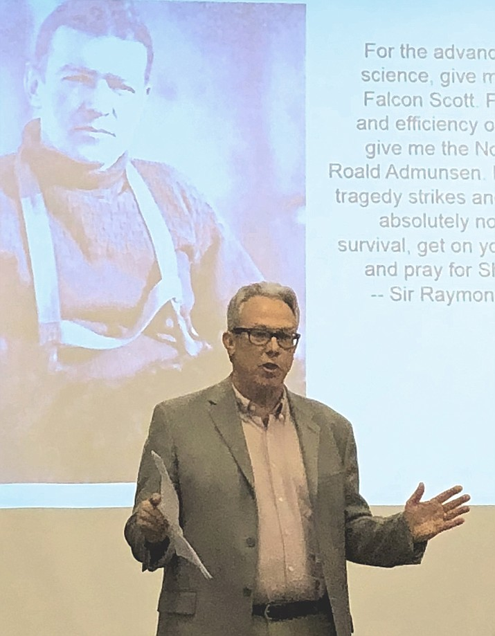 "Dan Engler addresses Verde Valley Leadership Class XII Feb. 18 on the leadership lessons learned from Sir Ernest Shackleton""Endurance"" expedition to Antarctica in 1914. The presentation by Engler and his wife, Patty, concluded with gifts for all members of the class. (VVL courtesy photo)"