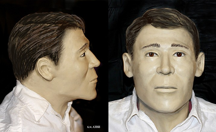 A facial reconstruction has been completed for the remains of a man who was found in a remote part of Yavapai County between Ashfork and Drake on March 8, 2015. YCSO is seeking information regarding the identity of this person. (Photo courtesy of YCSO)