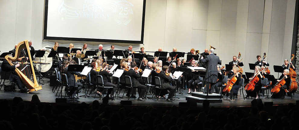 The Prescott Pops Symphony performs for 2200 third to fifth grade students from around Yavapai County in the annual Music Memory Concert at the Yavapai College Performance Hall Thursday morning. (Les Stukenberg/Courier)