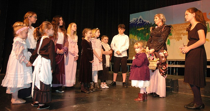 "Members of the cast of ""The Secret Garden,"" including Serenity Phemister, as Mary, at far right. (Jason Wheeler/Kudos)"