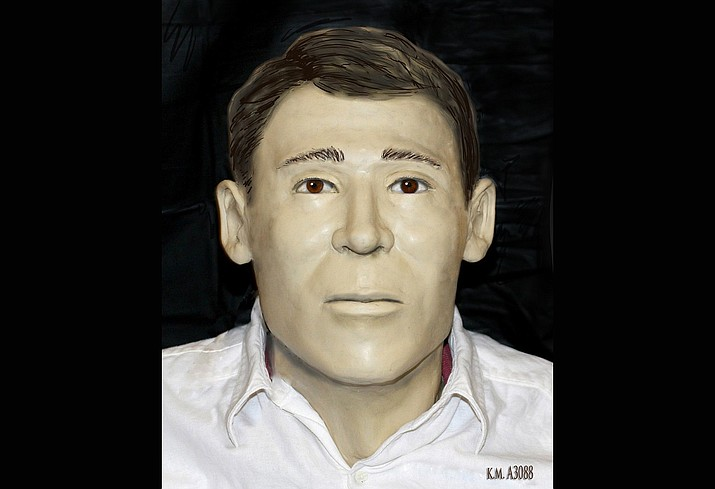 Facial reconstruction of a man whose skeletal remains were found in Yavapai County in March, 2015. (YCSO)
