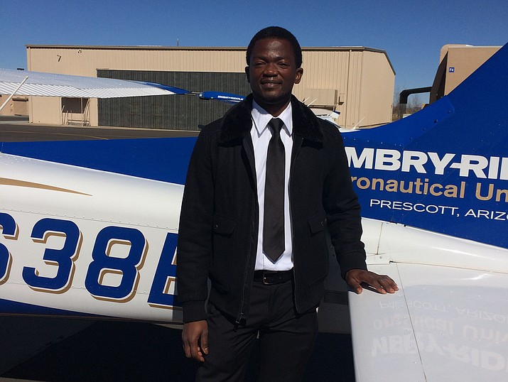 Dami Coker, Embry-Riddle Aeronautical University flight instructor and assistant safety program manager. He was just honored by the Federal Aviation Administration as Arizona's Flight Instructor of the Year. He came to Embry-Riddle nine years ago from Nigeria. (Nanci Hutson/Courier)