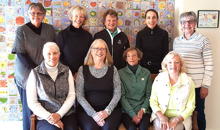 Officers are, from left to right in Row 1: Barbara Gordon (Vice President), Michelle Stoor (President), Sandy Bruns (Secretary), Dawn Bush (Tournament Chair and American Women's Golf Association (AWGA) Representative.  Row 2: Becky Rubin (Secretary & Webmaster), Julie Larson (Publicity), Kay Klein (Social), Sue Buffum (Co-Tournament), and Judi Forrest (Rules).