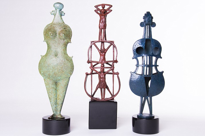 """Violetta"" Sextet II"" & ""Allegreta"" by Howard Hitchcock (1927-2016), bronze sculptures, from 17"" to 18"" high."