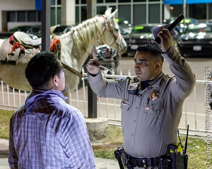 This early Saturday, Feb. 24, 2018, photo released by the California Highwat Patrol (CHP) shows a horse rider being arrested after failing a field sobriety test by CHP officers for DUI in a freeway Long Beach, Calif. Authorities say the drunken man made his way onto a California freeway while atop the horse. (California Highway Patrol, Santa Fe Springs via AP)