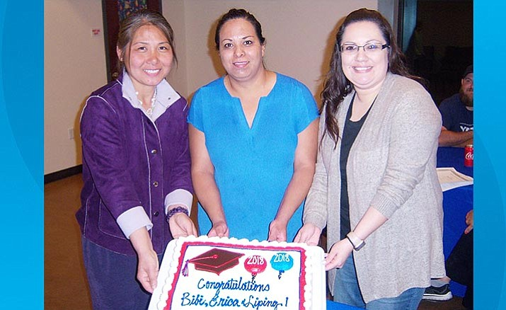 The Camp Verde Adult Reading Program recently graduated Liping Wang, Bibiana Herrera-Cruz, Erica Hicks, as each passed all of their tests and earned their GED. (Photo by Bill Helm)