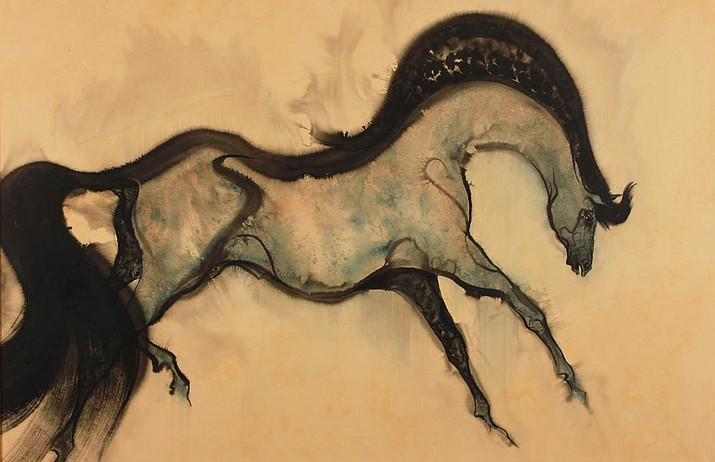 1979 Sweet Grass Horse 40 x 30 watercolor on board. Courtesy of Paul Dyck Foundation.