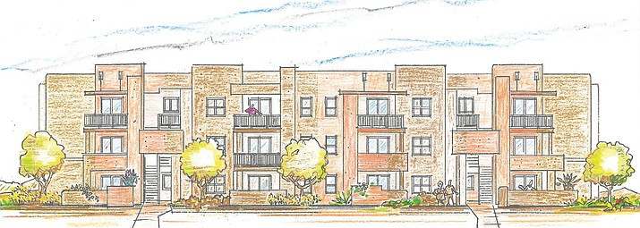 A preliminary rendering of the Inspiration at Cottonwood apartment complex by Whitneybell Perry Architects. (Image courtesy of Sefton Engineering Consultants)