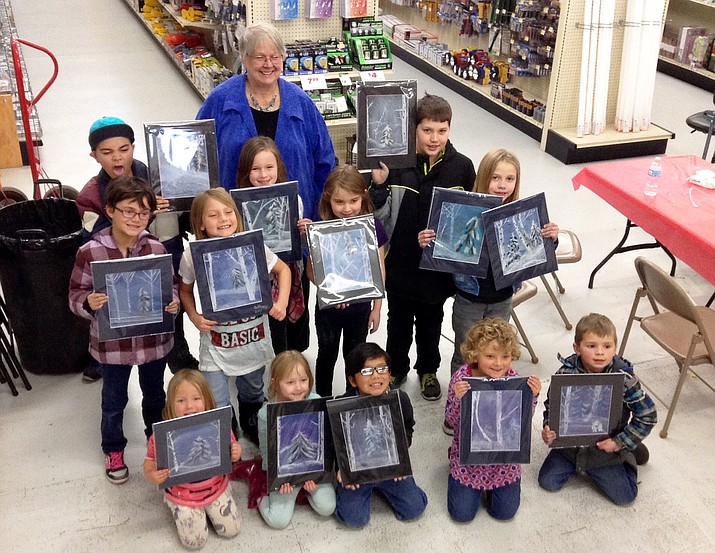 Williams children display their artwork from a workshop hosted by local artist Bonnie Dent. Youth art will be on display and for sale at The Gallery in Williams in celebration of Youth Art Month. (Submitted photo)