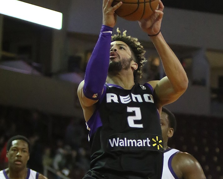 Reno's Cody Demps (2) goes up for a layup against the Northern Arizona defense Tuesday, Feb. 27, 2018, in Prescott Valley. Demps scored only three points, but had eight rebounds and two assists in 23 minutes. The Bighorns won 132-125, snapping the Suns' four-game winning streak. (Matt Hinshaw/NAZ Suns)