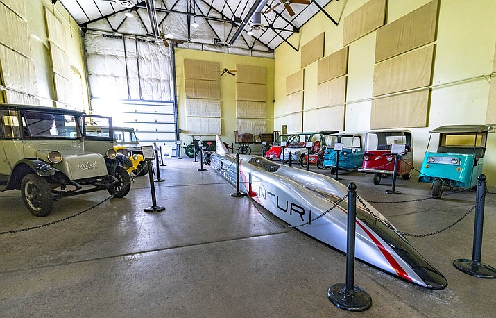 The Buckeye Bullet, designed and built by students at Ohio State University, is one of more than 20 electric vehicles on display at Kingman's Route 66 Electric Vehicle Museum at the Powerhouse Visitor Center.