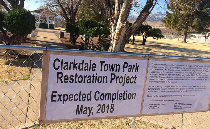 "Categorized as a ""Tier 1"" property, the Town Park on Main Street is the first priority for remediation. The park was fenced off on Wednesday in preparation. The 10- to 12-week project is expected to be complete sometime in May. VVN/Vyto Starinskas"