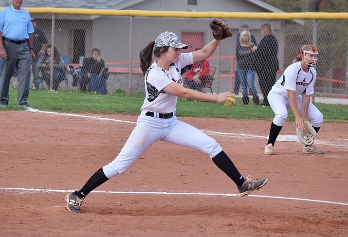 Mingus senior Kaycee Williams led the Marauders to victory in their first game of the season, a 15-5 win over Combs last week. She earned the win and hit a home run. (VVN/James Kelley)
