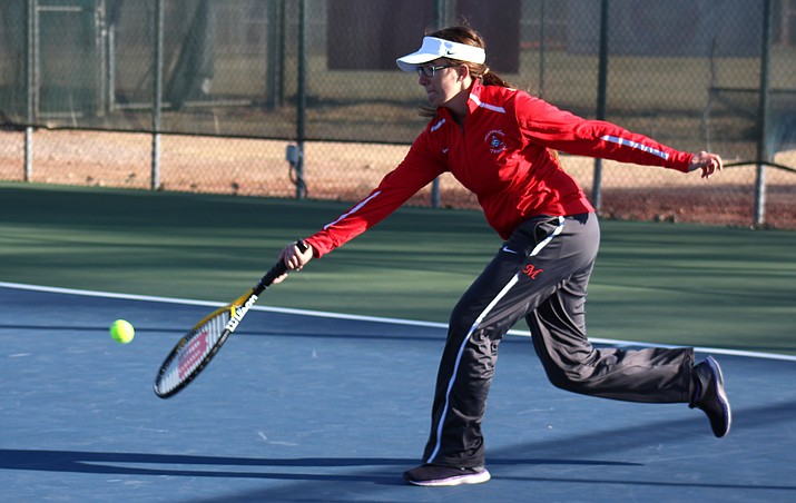 Mingus freshman Emma Hoggard returns the ball against Moon Valley on Feb. 22. (VVN/James Kelley)