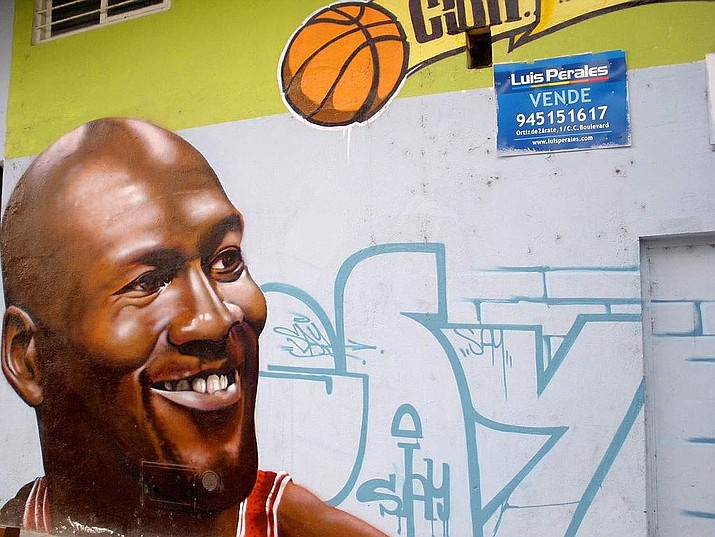 Michael Jordan is an iconic figure whose image is everywhere, including as graffiti in this barrio in Santa Lucía de Vitoria-Gasteiz, Spain.