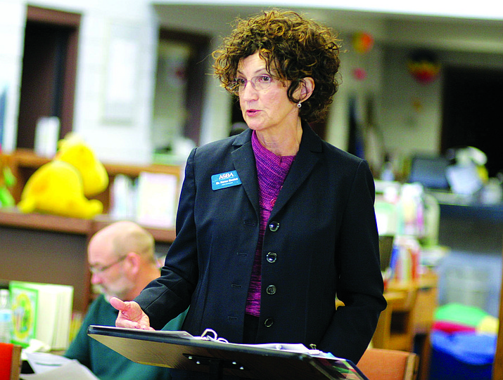 Dr. Karen Gasket, leadership consultant with Arizona School Boards Association, spent more than two hours Tuesday telling the Camp Verde school board what ASBA could do for the district as its superintendent search resource. (Photo by Bill Helm)