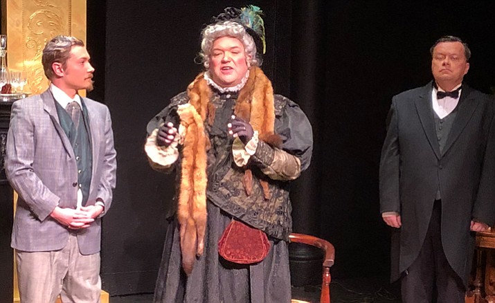 """Shawn Welsh, left, as Algernon Moncrief, Bruce Thomson as Lady Bracknell and Parker Anderson as Lane in the Prescott Center for the Arts' production of """"The Importance of Being Earnest."""""""