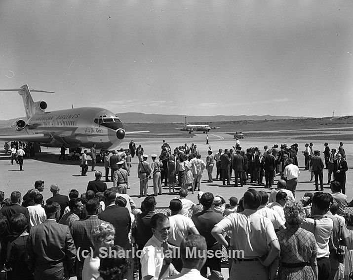 "Barry Goldwater's plane, the ""Yia Bi Ken"" (Navajo for ""House in the Sky""), lands at the Prescott airport in 1964."