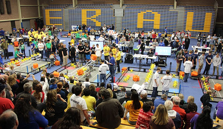 More than 50 schools from across Arizona met in 2017 on Embry-Riddle Aeronautical University's campus to compete for the AIA/Barret Foundation VEX Robotics Championship. The university will host the competition again this year, on Friday, March 2, and Saturday, March 3. (Max Efrein/Courier)