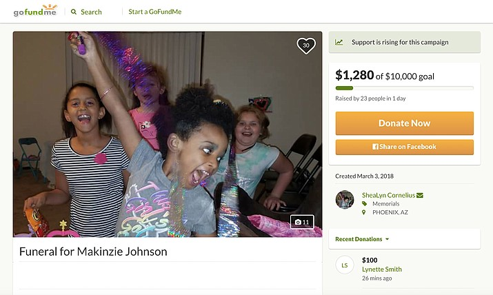 A GoFundMe page has been set up to raise money for funeral expenses for 5-year-old Makinzie Johnson. According to police, Johnson was killed after she was run over by a tour bus in the parking lot of a Phoenix Motel 6 Friday night. (Source: www.gofundme.com/MakinzieJohnson )