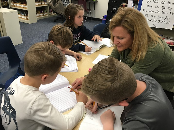 A Prescott Unified School District teacher works with her students Jan. 8 in Prescott. (PUSD/Courtesy)
