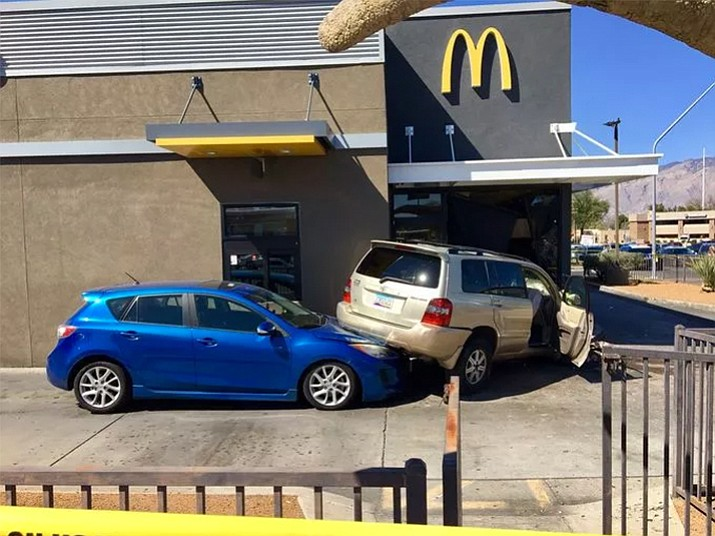 Tucson police say a 54-year-old woman was fatally struck by a vehicle that crashed into a McDonald's restaurant around 11 a.m. Saturday in Tucson. (Tucson Police Department)