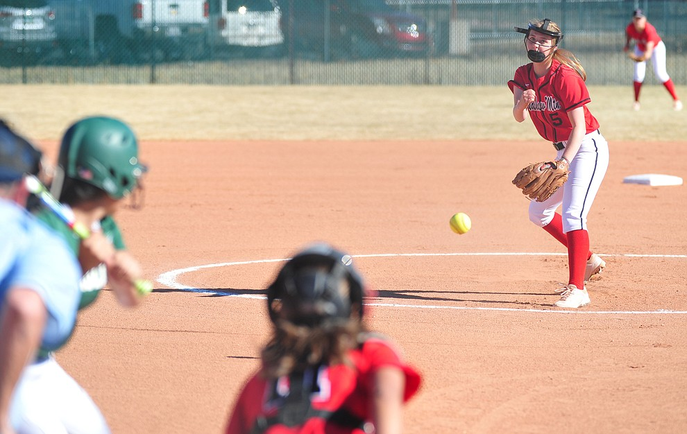 Bradshaw Mountain's Kirsten Schmidt delivers a pitch as the Bears take on the Flagstaff Eagles in softball Tuesday in Prescott Valley. (Les Stukenberg/Courier)