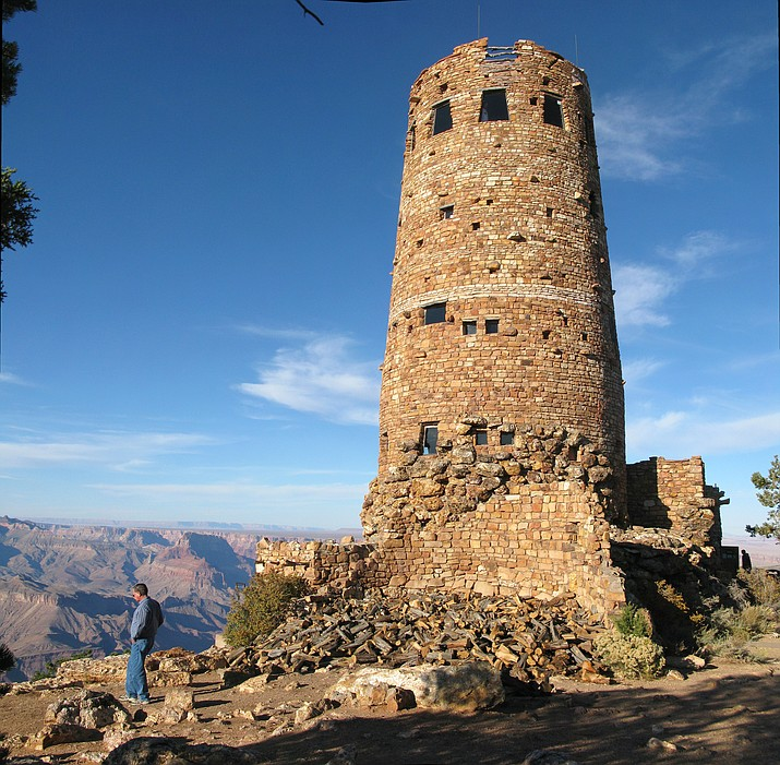 Desert View Watchtower rises above the east rim overlooking the Colorado River. (Photo/NPS)