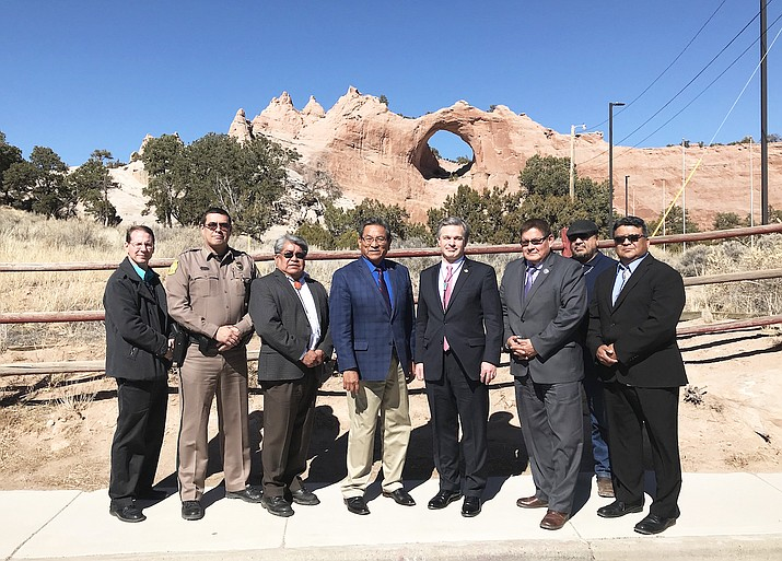Navajo Nation President Russell Begaye (center) and Director of the FBI, Christopher Wray met in Window Rock, Arizona March 2. Wray and Navajo Nation leaders discussed human trafficking, data sharing, school shootings, among other topics. (Submitted photo)