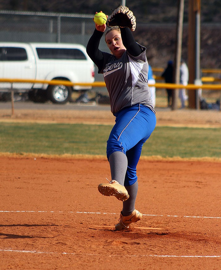 Kingman Academy's Jessica Plew picked up the win in the circle Monday against Bagdad.