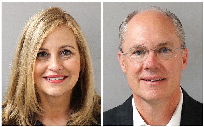 Nashville Mayor Megan Barry, left, and her former bodyguard, retired police Sgt. Robert Forrest. Barry resigned Tuesday, March 6, 2018, after pleading guilty to cheating the city out of thousands of dollars as she carried on an affair with Forrest. (Metropolitan Nashville Police Department)