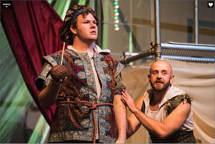 "Tony Sloan (left) as Stephano and Christobal Iniguez Perez as Caliban in the Utah Shakespeare Festival's 2018 Shakespeare-in-the-Schools production of ""The Tempest."" (Photo courtesy of Karl Hugh, Utah Shakespeare Festival)"