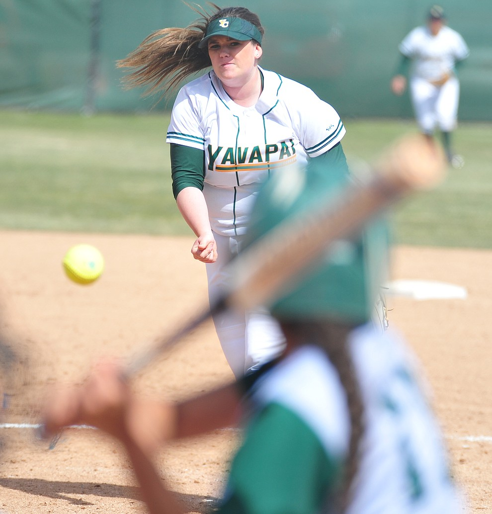 Yavapai's Jaya Allen delivers a pitch as the Roughriders take on the Scottsdale Community College Artichokes Tuesday afternoon in Prescott. (Les Stukenberg/Courier)