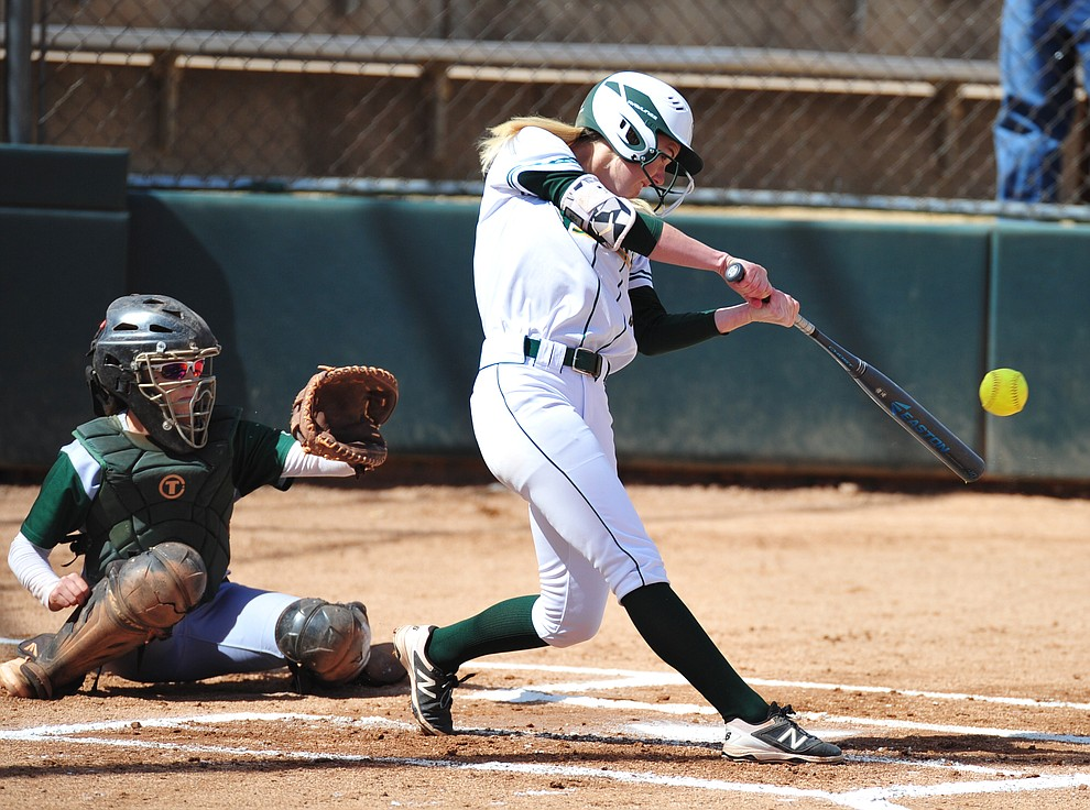 Yavapai's Katelyn Kubitschek makes contact as the Roughriders take on the Scottsdale Community College Artichokes Tuesday afternoon in Prescott. (Les Stukenberg/Courier)