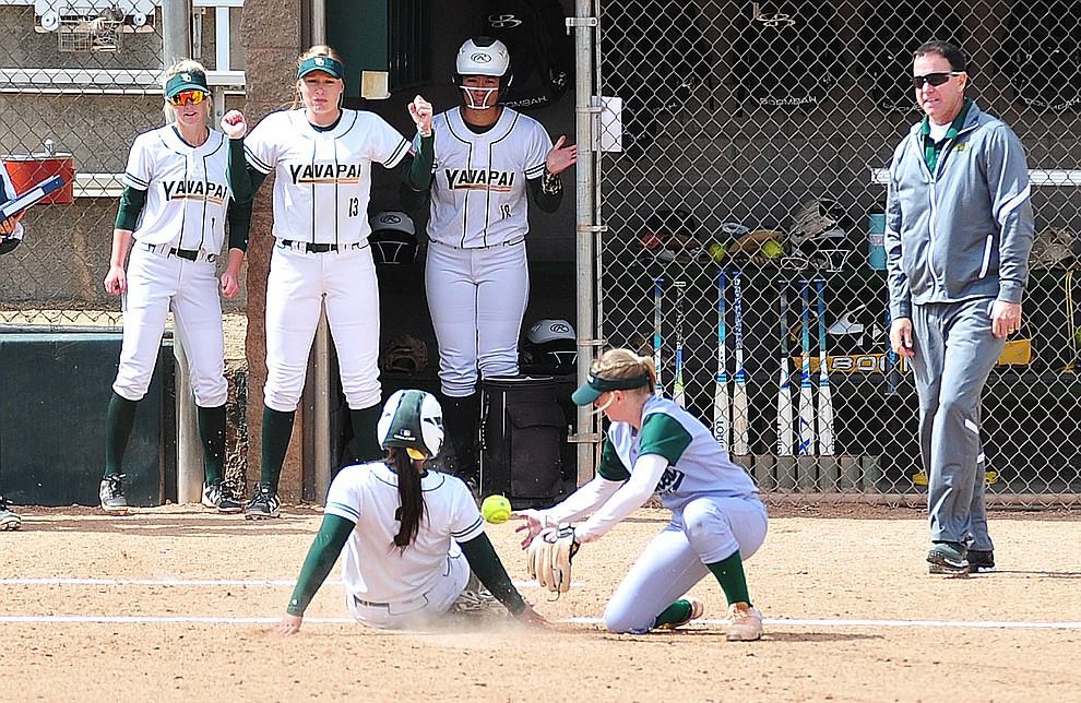 Yavapai's Makayla Guerra slides safely into third after a three-run triple as the Roughriders take on the Scottsdale Community College Artichokes Tuesday afternoon in Prescott. (Les Stukenberg/Courier)
