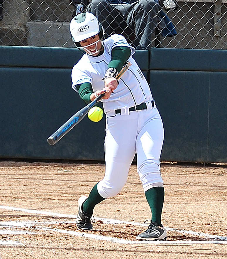 Yavapai's Makea Al-Kaluau hits a home run as the Roughriders take on the Scottsdale Community College Artichokes Tuesday afternoon in Prescott. (Les Stukenberg/Courier)