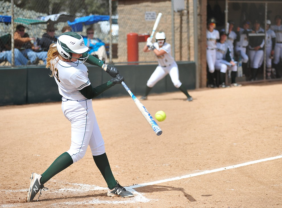 Yavapai's Shelby Hotchkiss makes contact as the Roughriders take on the Scottsdale Community College Artichokes Tuesday afternoon in Prescott. (Les Stukenberg/Courier)