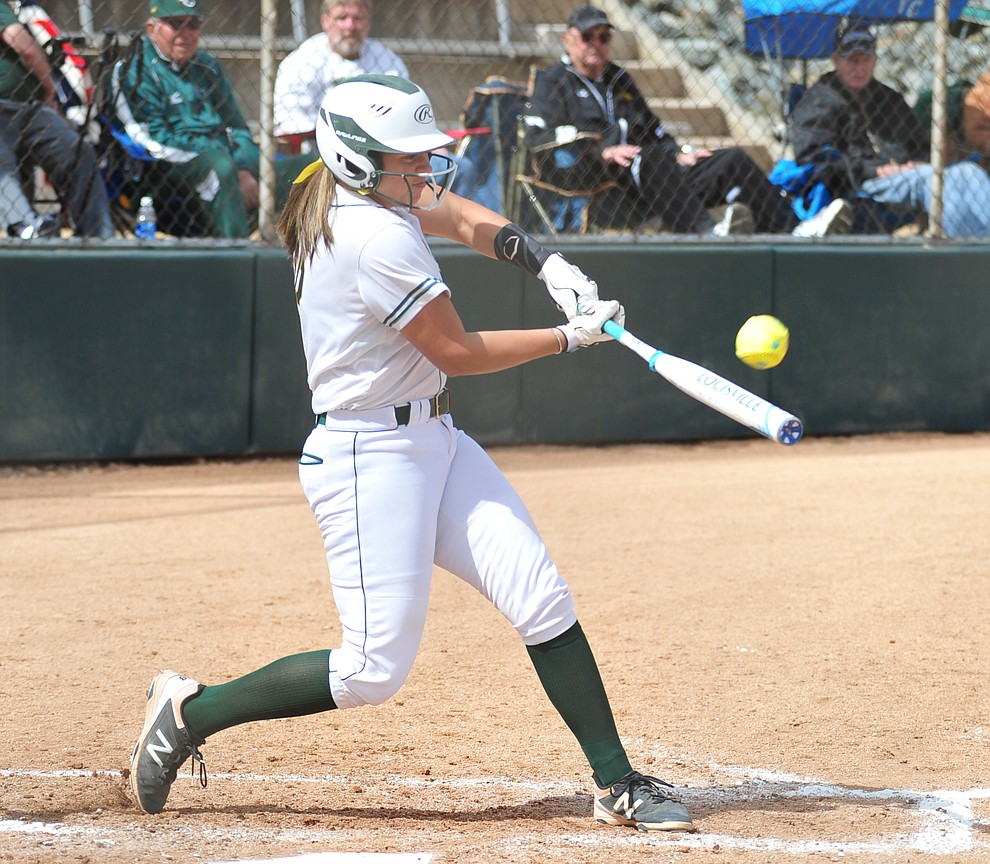 Yavapai's Kylie Brown makes contact as the Roughriders take on the Scottsdale Community College Artichokes Tuesday afternoon in Prescott. (Les Stukenberg/Courier)