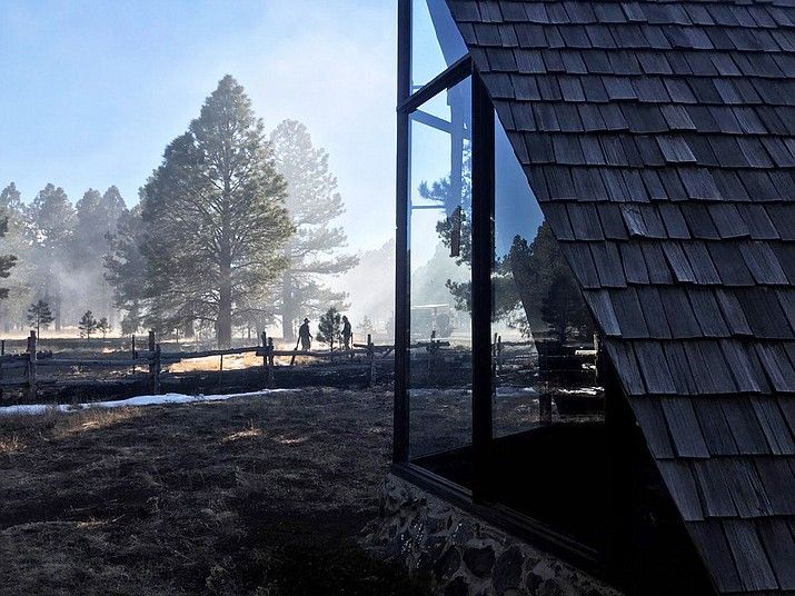 Firefighters from Coconino National Forest and Summit Fire Department stopped a wildfire that was  reportedly started after a drone caught fire near Kendrick Park southwest of Flagstaff. (Photo/Coconino National Forest)
