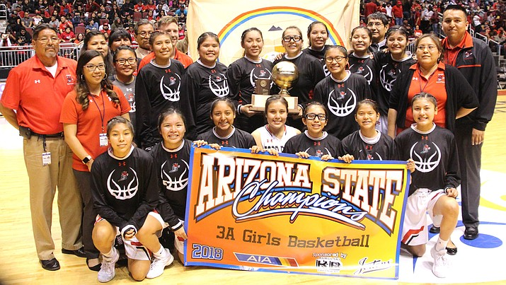 Members of the Page Lady Sand Devils with head coach Ryan Whitehorse, Navajo Nation President Russell Begaye and Navajo Nation Vice President Jonathan Nez. (Anton Wero/NHO)