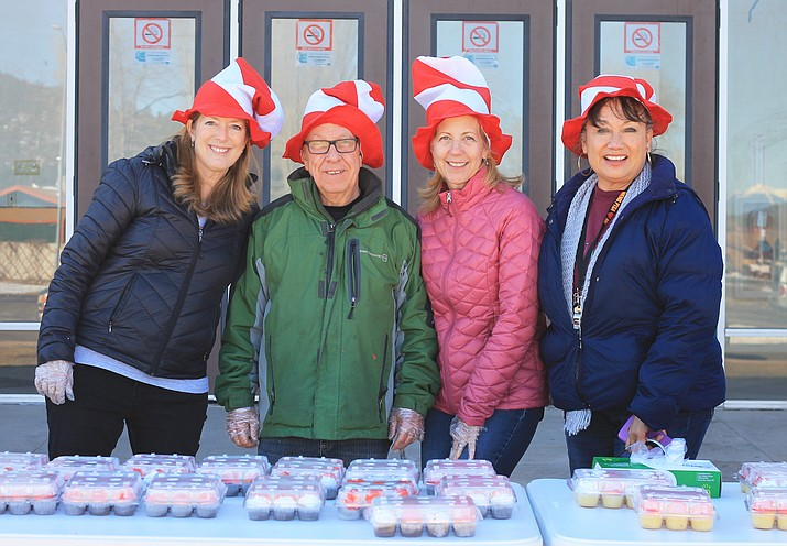 Teachers at Williams Elementary-Middle School get in the spirit of Dr. Seuss as Read Across America is celebrated at the school March 1. (Wendy Howell/WGCN)