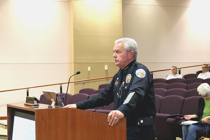 KPD Chief Robert DeVries presents the department's accreditation goals to Council at a meeting March 6.