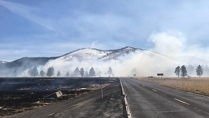 U.S. Forest Service officials say a crashed drone sparked a wildfire northwest of Flagstaff Tuesday, March 6, 2018. The wildfire burned in grasslands southeast of Kendrick Park and produced smoked that had the potential to limit visibility in the area. It was contained after charring more than 300 acres. (Coconino National Forest)