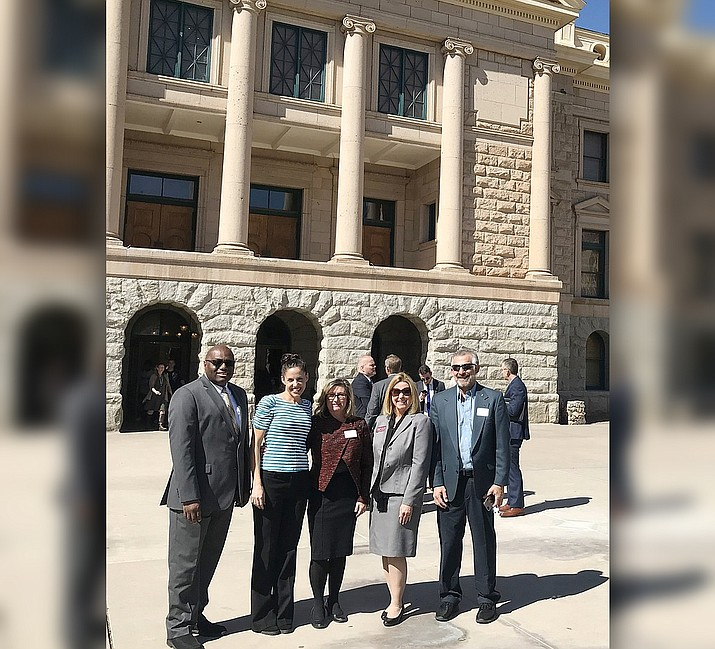 From left, Prescott Chamber board members Rodney Jenkins, Danielle Rickert, Board President Margo Christensen, Chamber President/CEO Sheri Heiney, and past president Sanford Cohen.