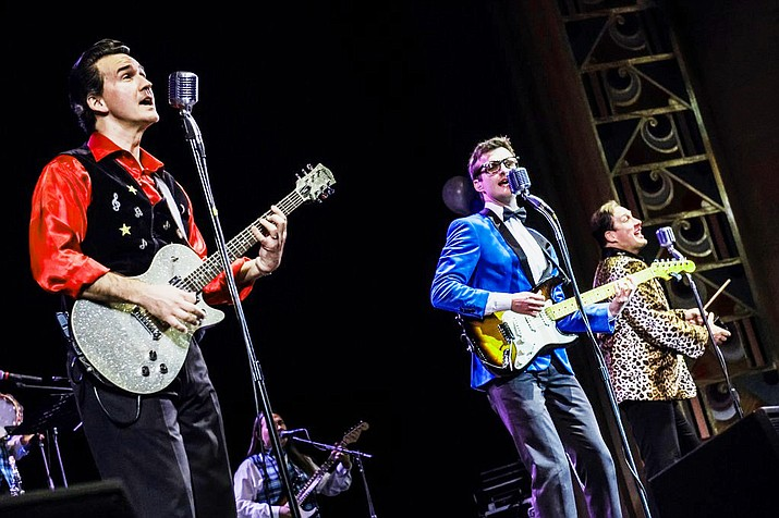 Chris Damiano as Ritchie Valens, Alex Mack as Buddy Holly and David Fanning as The Big Bopper performing the Rave On! show. (Trish Thayer/Courtesy)